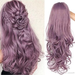 PurPle black cosPlay wigs online shopping - wig Long WavySynthetic Lace Front Wigs Purple Lace Wig For Black White Women can Cosplay Wave Pink Brwon Wigs