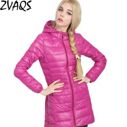 elegant down parka Australia - 2018 Female Warm Winter Jacket Women Coat Thin Brand Down Parka Ultra-light Down Jacket Hooded Coat Long Elegant Outwear YM94