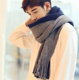 Cotton Neck Scarves NZ - Men Fashion Soft Long Scarf Wraps Shawl Stole Signature Warm Cotton Scarves Man Scarves Neck Scarf