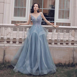 light grey short crystal prom dresses Australia - 2019 Women's Tulle Spaghetti Straps Long Prom Party Dresses Grey Beaded Applique Backless Formal Party Dress V-neck Sexy Evening Dress