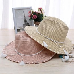 large brim hats for women Australia - Summer Hats For Women Foldable Tassel Bow Large Wide Brim Straw Sun Hat Beach Panama Hat Suncreen Sunhat Chapeau Femme 2017