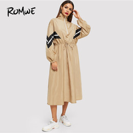 collared mid calf dress UK - Romwe Drawstring Waist Zip Striped Dress 2019 Fashion Stand Collar Long Sleeve Dress Fabulous Khaki Mid-calf Women Dress Y19051001