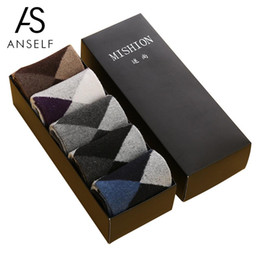 Discount bamboo one size - 5 Pairs of Boxed winter socks Autumn and Winter Men Socks Thick Middle Tube Wool One Size bamboo men Birthday gift