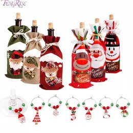 wine glasses for christmas Australia - FENGRISE 2018 Christmas Decor For Home 2018 Christmas Bottle Cover Wine Glass Charm Gift Decor Noel New Year 2019