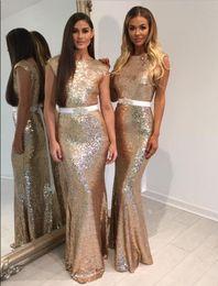 Beaded Belts For Wedding Dresses Australia - Bling Bling Mermaid Bridesmaid Dresses Floor Length Gold Sequined White Beaded Belt Sexy Dress For Wedding Party Robe demoiselle d'honneur