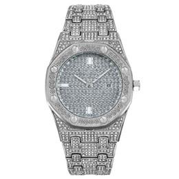 Watch Women bling online shopping - Mens Women Fashion Watch Bling Full Diamond Iced Out Watches Luxury Designer Quartz Movement Party Wristwatch Royal Oak Offshore