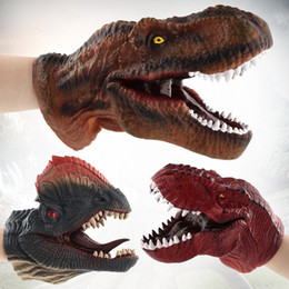 $enCountryForm.capitalKeyWord Australia - 2018 New Funny Dinosaur Head Hand Puppet Role Play Toy Soft Non-toxic Realistic Dino Model Children Toys