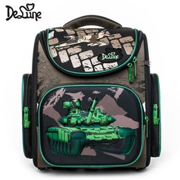 $enCountryForm.capitalKeyWord Australia - Delune 1-3 Grade Children Orthopedic Back School Bag Green Tank 3D Kids School Satchel Zipper Around Folden Truck Cars Sac A Dos