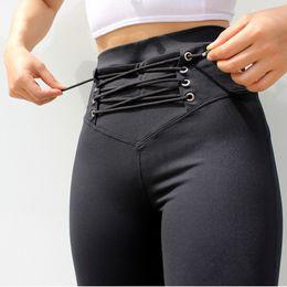 $enCountryForm.capitalKeyWord NZ - Fashion Solid Color Tie High Waist Bandage Leggings Push Up Black Leggings Fitness Women Workout Elasticity Skinny Pants