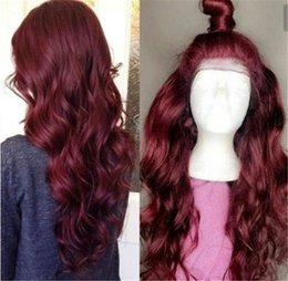 Red Black Brazilian Hair 24 Australia - 99J Red Human Hair Wigs For Black Women 150% Density Wavy Burgundy Remy Brazilian Lace Front Wig Preplucked With Baby Hair