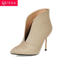 $enCountryForm.capitalKeyWord Australia - QUTAA 2020 Sequins PU Leather Fashion Thin High Heel Zipper Ankle Boots Sexy Pointed Toe Gold Stilettos Women Shoes Size 34-43