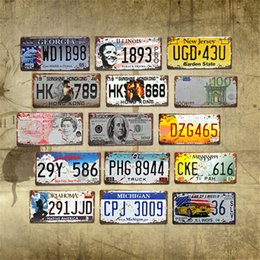 car paint numbers UK - Car License Metal Plate Car Number Tin Signs Bar Pub Cafe Decor Metal Sign Garage Painting Art Plaque Poster JK2006KD