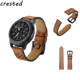 SamSung gear S3 watch online shopping - CRESTED Retro Genuine Leather Watch Band for Samsung Gear S3 for Classic Frontier Smart watch Metal Buckle strap mm