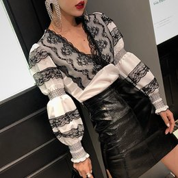Korean shirt clothing online shopping - Patchwork Lace Tops Female V Neck Puff Long Sleeve Womens Shirts Blouse Elegant Fashion Korean Spring Clothes