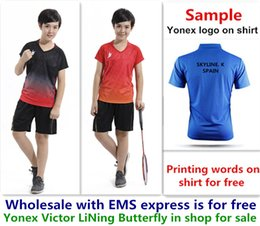 Ems Clothes Australia - Wholesale EMS for free, Text printing for free, new kid children badminton shirt clothes table tennis T sport shirt clothes 10