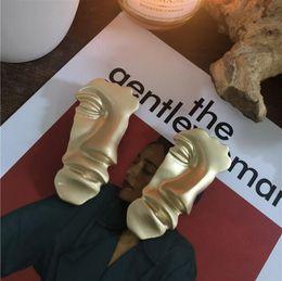 $enCountryForm.capitalKeyWord Australia - Advanced electrophoresis non-fading hypoallergenic suit wild sculpture gold half face totem alternative mask Harajuku personality brooch