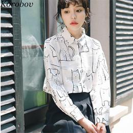 $enCountryForm.capitalKeyWord NZ - Korobov Korean 2018 New Arrival Cat Print Women Blouse Harajuku Cartoon Shirts Long Sleeve Casual Female Blusas Tops 76349