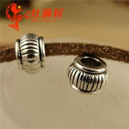 $enCountryForm.capitalKeyWord NZ - A3964 5*8*3.5MM Vintage tibetan silver DIY jewelry wholesale lantern round european beads, big hole antique copper charms for leather rope