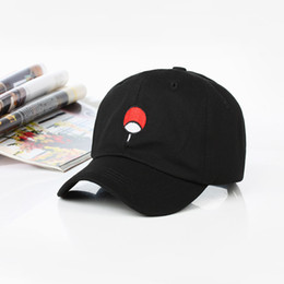 cb54e4a09a9a2 100% Cotton Japanese Anime Naruto Dad Hat Uchiha Family Logo Embroidery  Baseball Caps Black Snapback Hat Hip Hop for Women Men