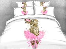$enCountryForm.capitalKeyWord Australia - Cartoon Dance Rabbit Duvet Cover Sets,Baby Girls Cute Cotton Soft Four Seasons Bed Set with Pillow Shams Twin Full Size Comforter Cover Set