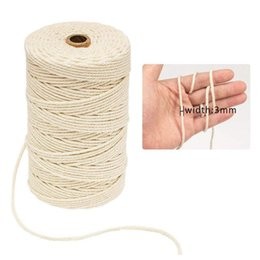 $enCountryForm.capitalKeyWord Australia - 3mmx200m White Cotton Cord Natural Beige Twisted Cord Rope Cotton String Packing Craft Rope DIY Handmade Home Decor supply