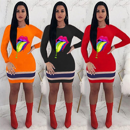 lips orange Australia - Womens Designer Dresses Colorful Lips Printed Casual Sexy Long Sleeved Crew Neck Dresses Fashion Skinny Bodycon Dress