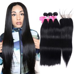 Bleachable Hair Australia - Brazilian Straight Human Hair Weaves Extensions 4 Bundles with Closure Free Part Double Weft Dyeable Bleachable Jet black 100g pc