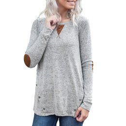 Elbow Patched Australia - ISHOWTIENDA 2019 soild Shirt Womens Solid Long Sleeve Button O-Neck Print Elbow Patch Tops woman shirts elegant
