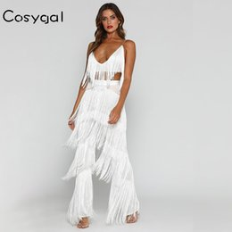 V Neck Long Jumpsuit Romper Australia - Cosygal Spaghetti Strap Women Romper Jumpsuit Romper Tassel Sleeveless Red Sexy Long Playsuits Elegant V Neck Solid Playsuits Y19051501