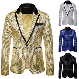 Discount pink dj shirts - Oeak Men Fashion 3 Pcs Sequin Blazers Jacket Set Men Suit Jacket +Vest + Shirt Sets Wedding Party Gliter DJ Luxury Stage