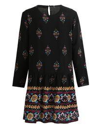 $enCountryForm.capitalKeyWord UK - Women Plus Size Dress Vintage Boho Floral Print Shift Dress Keyhole Back O Neck Long Sleeve Relaxed Autumn Dress Black Vestidos