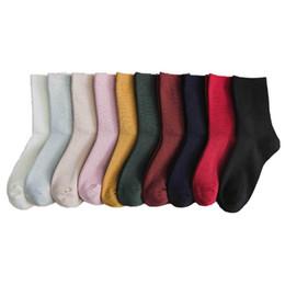 $enCountryForm.capitalKeyWord NZ - 2018 Autumn And Winter New Thin Strips Solid Color Wool Pile Socks Female Japanese Tube Female Socks