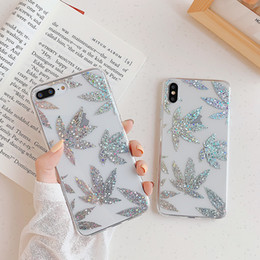 Rose Gold Plating Art Leaf Cases For iphone XR X XS Max 8 7 Plus Shining Leaves Plant Tree Phone Case Clear Back Cover