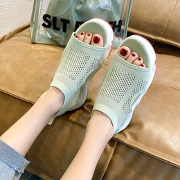 Discount mesh wedge sandals Summer Knit Mesh Breathable Sport Sandals Women Rainbow Sole Casual Platform Wedge Sandals Women Outdoor Beach Shoes 202