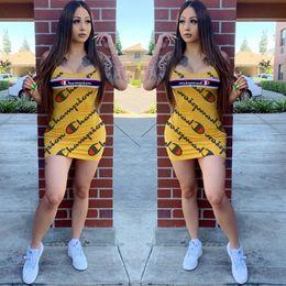 Women beach designer dresses online shopping - Champion Designer Woman Summer Dresses Evening Bodycon Dresses Brand Sleeveless Tank Vest Mini Skirt Fashion Luxury Club Wear C61903