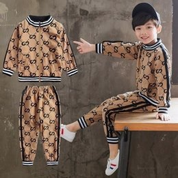 korean winter clothes leisure NZ - Korean Boys Autumn Suit 2019 New Designer Luxury Kids Handsome Boys Fashion Clothes Leisure And Loose Sports Suit Baby Clothing Set 092004