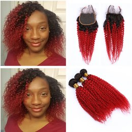 $enCountryForm.capitalKeyWord Australia - Ombre Two Tone Color 1B Red Kinky Curly Hair Weaves With 4x4 closure Double Wefted 100% Virgin Hair 3Bundles With Lace Closure