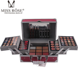 eye shadow palette contour makeup Australia - ePacket MISS ROSES Professional makeup set Aluminum box with eye shadow blush contour powder palette for makeup artist gift kit