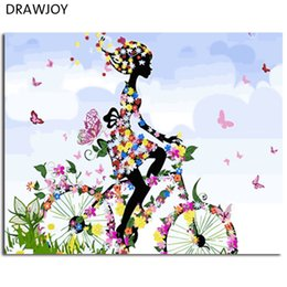 Oil paintings girls online shopping - DRAWJOY Framed Picture DIY Painting By Numbers Of Flowers Girl Home Decor For Living Room DIY Canvas Oil Painting Wall Art
