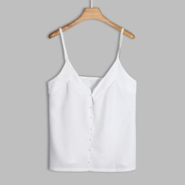 f1c78bc8f0 Las mujeres de gasa Puls tamaño chaleco sin mangas ocasional botón tanque  blanco tops de verano camisa ropa para chicas calientes Camis Sexy grande