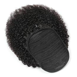 Peruviano Ponytails Afro crespo ricci 100g / set un pezzo di estensioni dei capelli Ponytail riccio all'ingrosso Virgin Capelli 100% dei capelli umani in Offerta