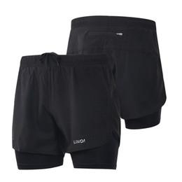 Hombres de 2-en-1 Pantalones cortos para correr rápido secado y transpirable activo ejercicio de entrenamiento de jogging Pantalones cortos de ciclista con más larga Liner CS-S Y8253B en venta