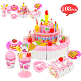 girls kitchen play set Australia - 39-103Pcs Pretend Play Kitchen Simulated Food Fruitcake Plays With Cutting Birthday Cake Sets Play House Toy for Children Girls