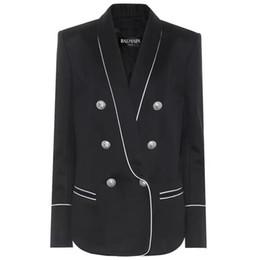 Wholesale women tuxedo slim for sale - Group buy Balmain Black Tuxedos Slim Fit Gold Pattern Laple Suits For Women Balmain Party Cheap One Butto Suit