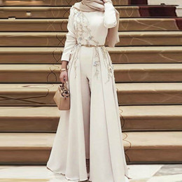 Wholesale long hijab gown picture resale online - Muslim Evening Dress Long Sleeves Satin Jumpsuit High Neck Beading Sash Pantsuit Detachable Hijab Illusion Islamic Formal Gowns