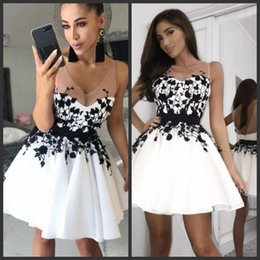 bddc72514c60 Mini dress backless online shopping - Glamorous White Lace Prom Dresses  Black Appliques Sexy Jewel Sheer