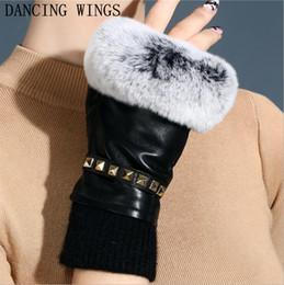 $enCountryForm.capitalKeyWord Australia - Autumn and winter women's fingerless gloves lady's genuine leather rabbit fur mittens winter warm sheepskin gloves