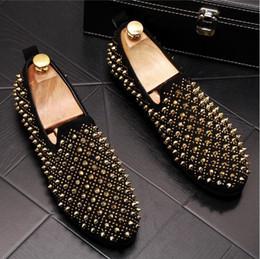 $enCountryForm.capitalKeyWord Australia - Hot Sale Men's Designer Comfortable Loafers Rhinestone Rivet Pointed Men Formal Shoes Men's Wedding Party Flat Shoes Z251