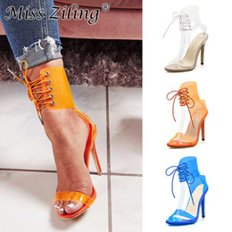 452cbaf99d911 2019 Explosion models foreign trade ladies sandals summer fish mouth cross  strap transparent sexy thin super high heels 40 yards