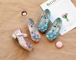 blue cow cartoon Australia - 2019 new Princess Kids Leather Shoes For Girls Flower Casual Glitter Children Girls Shoes cartoon Blue Pink